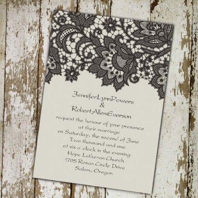 ivory vintage printed lace wedding invitations EWI260 |