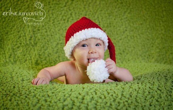 Baby Christmas Hat Crochet Elf or Santa by cottoncandycraftings, $22.00