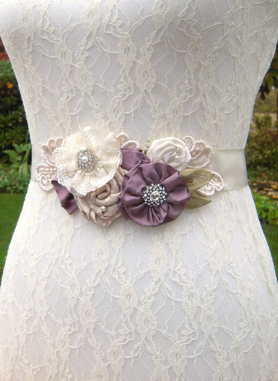 Wedding Dress Sash Belt Dusty Lavender Vintage Style Floral