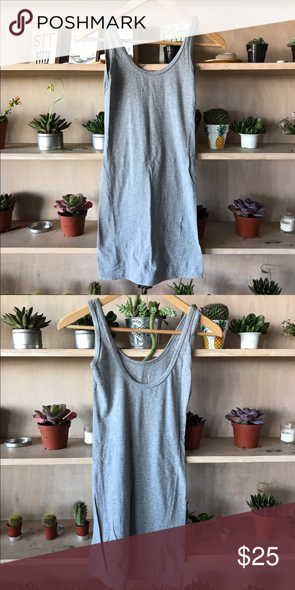 Brandy Melville Dress Fitted grey Brandy Melville dress. One size. Brandy Melville Dresses Mini