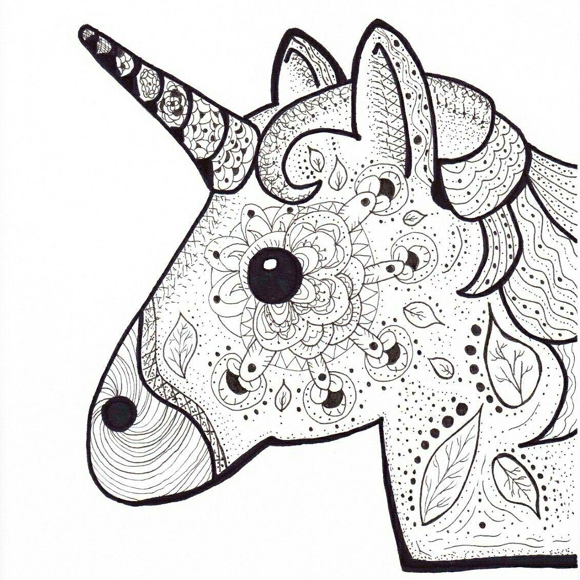 Unicorn Emoji Unicorn Emoji Drawing Fineliner Edding Staedtler Blackandwhite Coloringpage