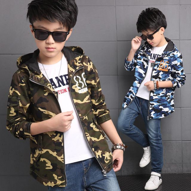 Autumn Hooded Kids Clothes Boys Jacket Coat Teens Trench Cotton Fashion Camouflage Casual Children's Clothing Outerwear