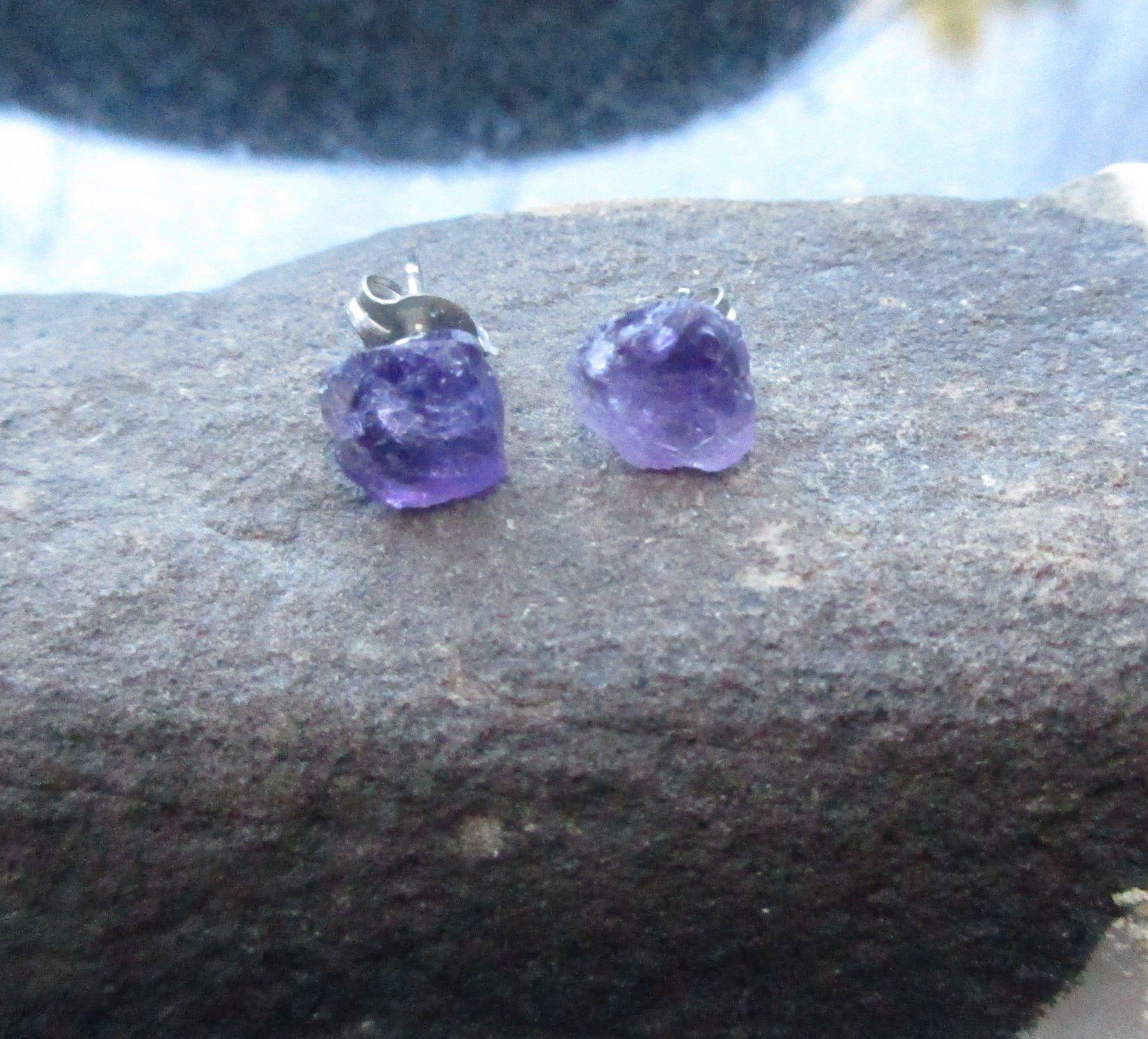 46e156cf59583 Raw Amethyst Crystal Studs, Titanium Earrings, Raw Stone, Purple ...
