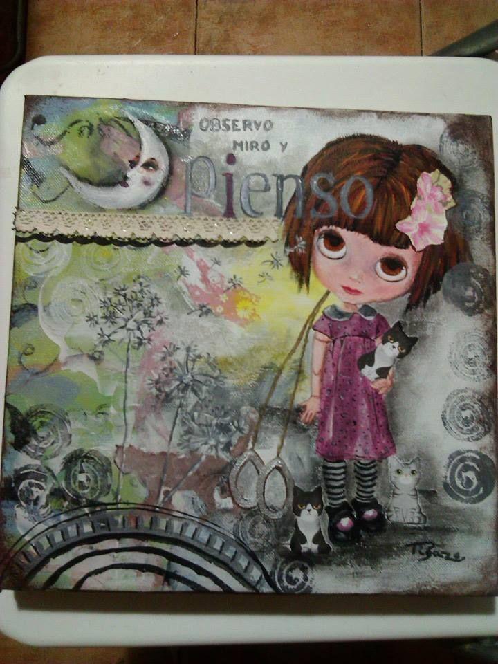 mi blyte gatuna. pintura en tecnica mixta,oleo,acrilico,papel textura,tinta china y mucho cariño. Sobre lienzo de 30x30x2.
