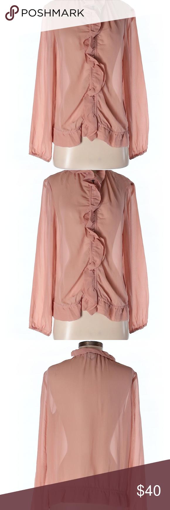 d10b70ca9dc78 Moda International Silk Top Ping Ruffle Size S Like New. Long sleeve