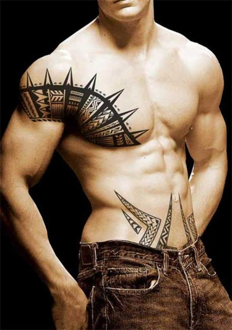 Chest And Shoulder Tribal Tattoo With Images Samoan Tattoo