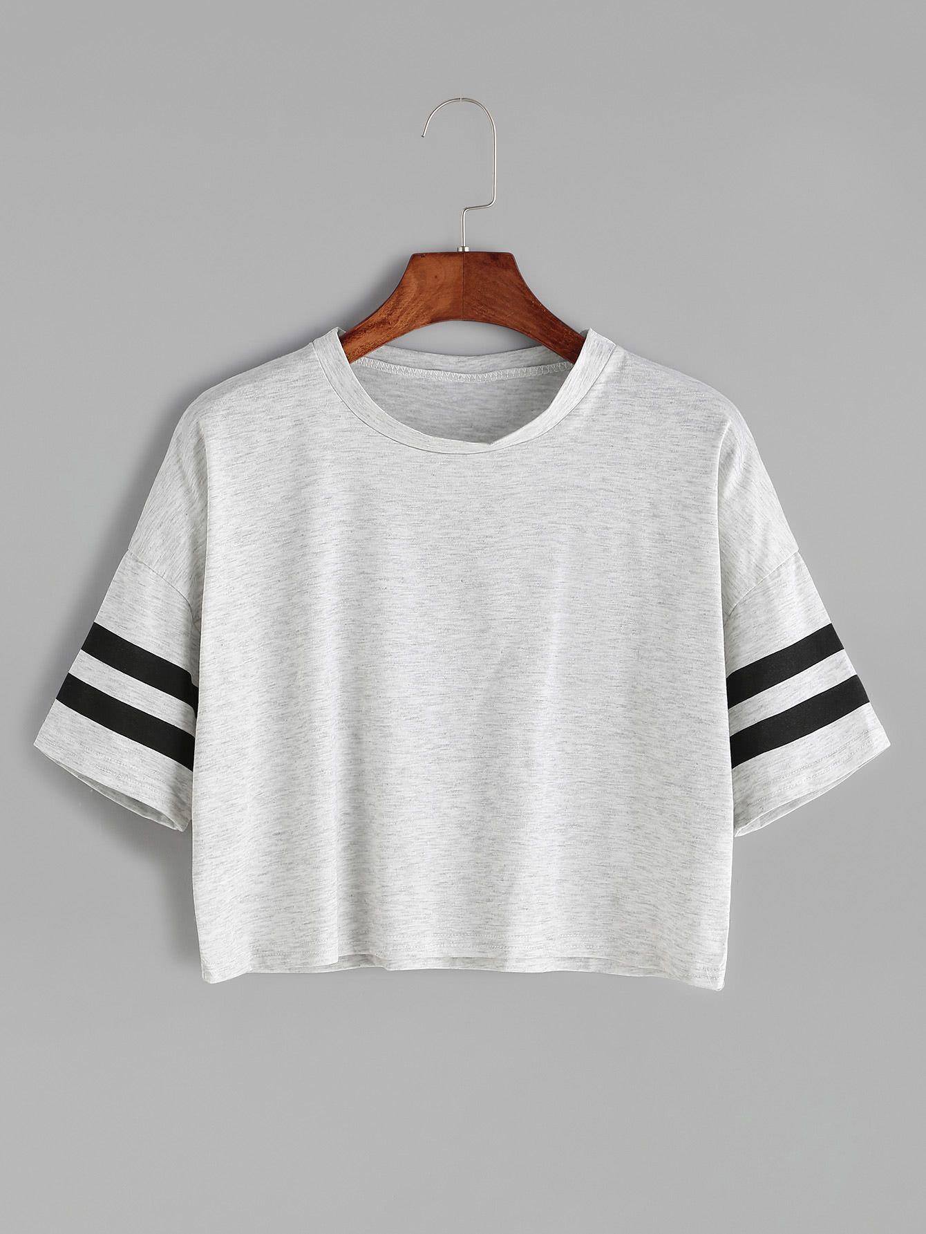 5a958f7e Camiseta corta hombro caído de raya universitaria - gris en 2019 ...