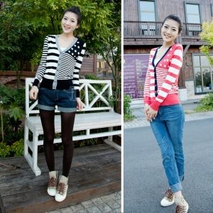 Vintage Stripe Color Cardigan Long Sleeve Knitting Sweater Knitted Wear 3 Colors