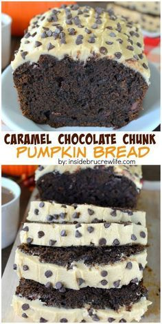 This chocolate pumpkin bread is loaded with chocolate chunks and topped with a homemade caramel frosting! It will not last long!
