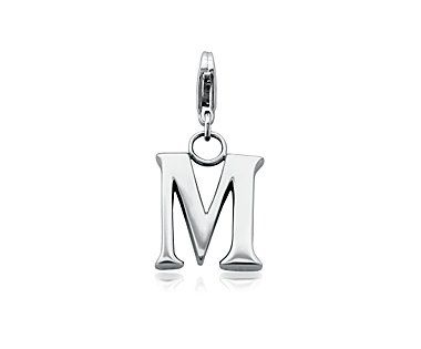 This finely-crafted sterling silver letter M is a nice size and has a substantial feel. It features a custom lobster claw clasp design.