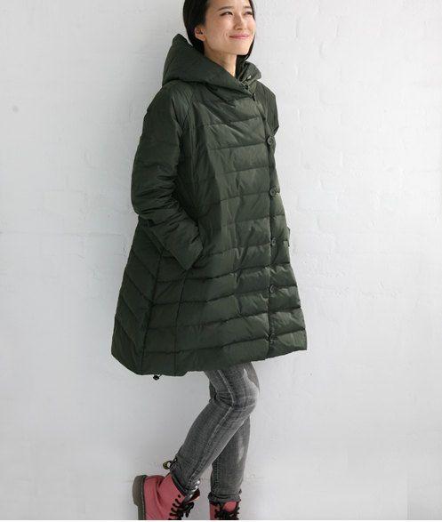 A-Line Long Hooded Long Down Jacket Womens Down Coat