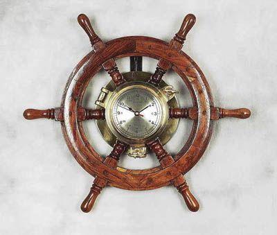 Amazing Wooden Shipu0027s Wheel With Brass Porthole Clock Home Design Ideas