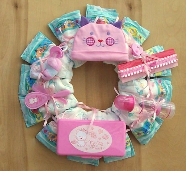 Make Baby Diaper Wreath Instructions Diaper Wreath Baby Cloth