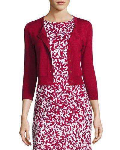 OSCAR DE LA RENTA 3/4-Sleeve Cropped Cashmere-Silk Cardigan, Dark ...