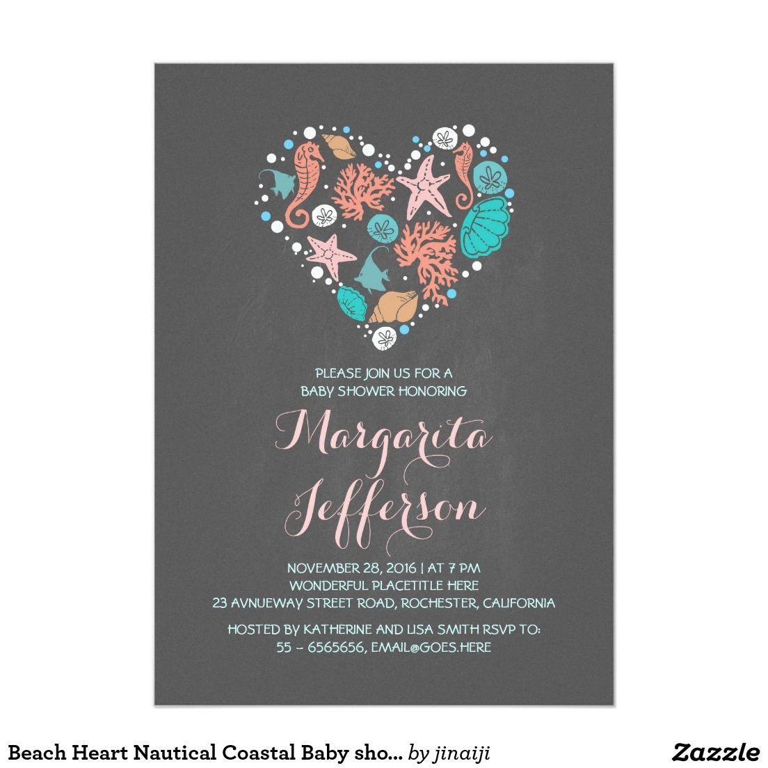 Beach Heart Nautical Coastal Baby shower Card Beautiful ocean ...