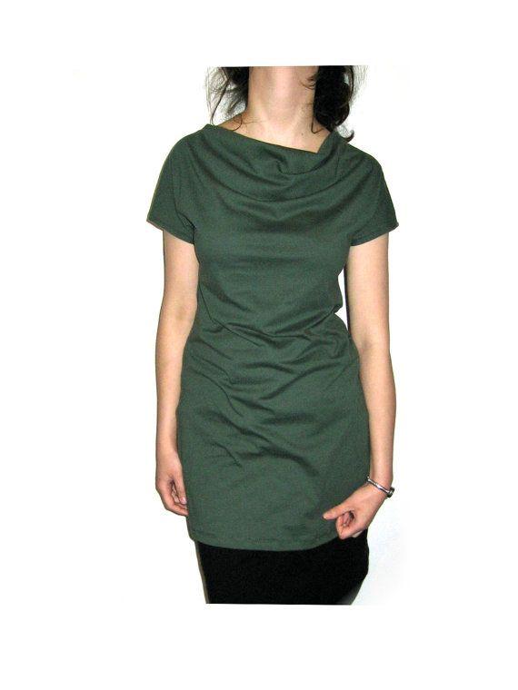 Autumn fashion?  Green boatneck  tunic  dress cotton jersey.  SALE on Etsy, £29.65