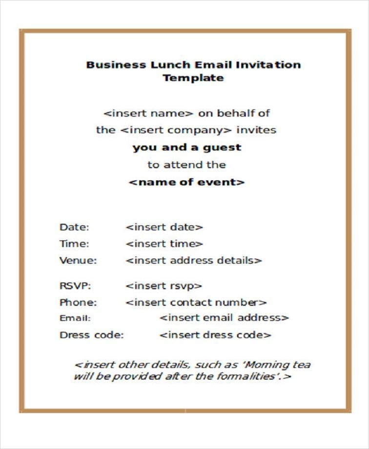 Business Party Invitation Email Sample