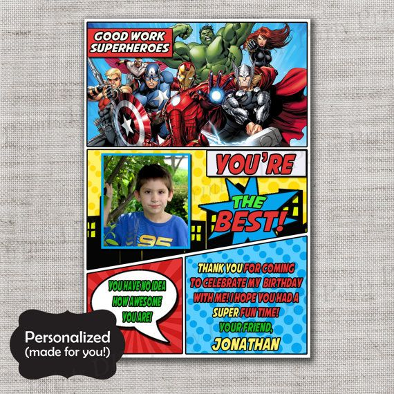 Avengers Thank You Card Avengers Ty Card Superhero Thank You Card