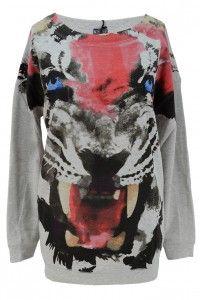 Laura Scott bluza oversize szara z tygrysem http://n-fashion.pl/sweterki-damskie/laura-scott-bluza-oversize-szara-z-tygrysem