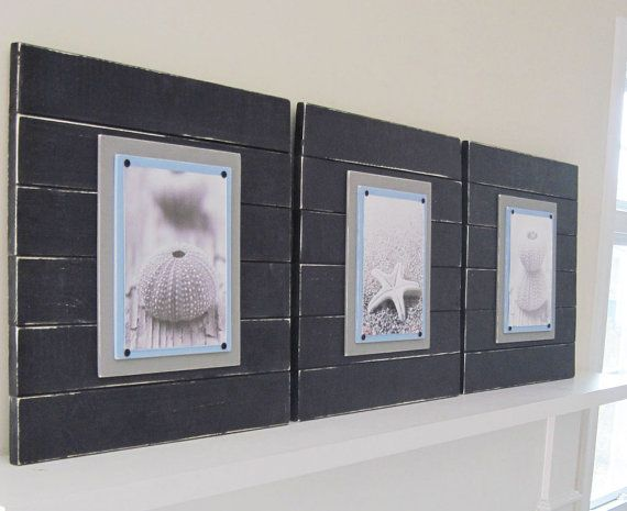 Set of 3 Xtra Large Black Distressed Plank Frames for 8x10