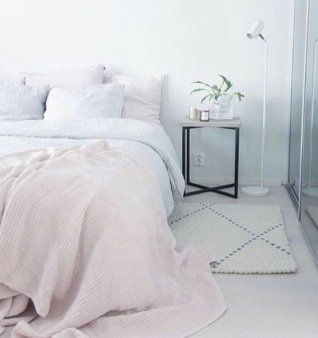 White With A Touch Of Pink Bedroom Bedroom Design Pastel