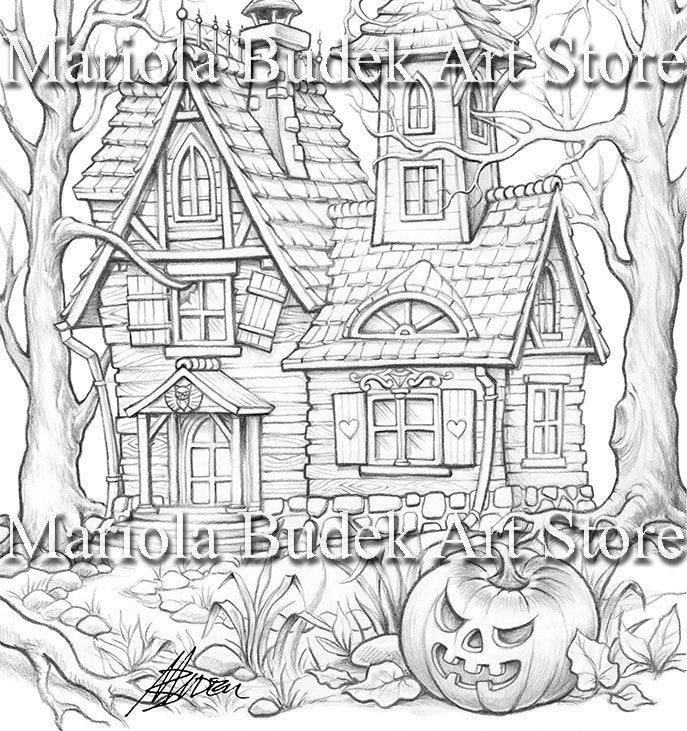 Witchy S House Mariola Budek Coloring Page Printable Etsy Coloring Pages New Year Coloring Pages Witch Coloring Pages