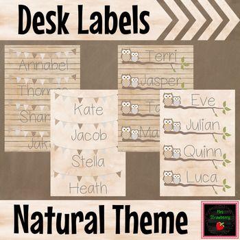 Natural Theme Desk Name Plates Labels Editable Mrs