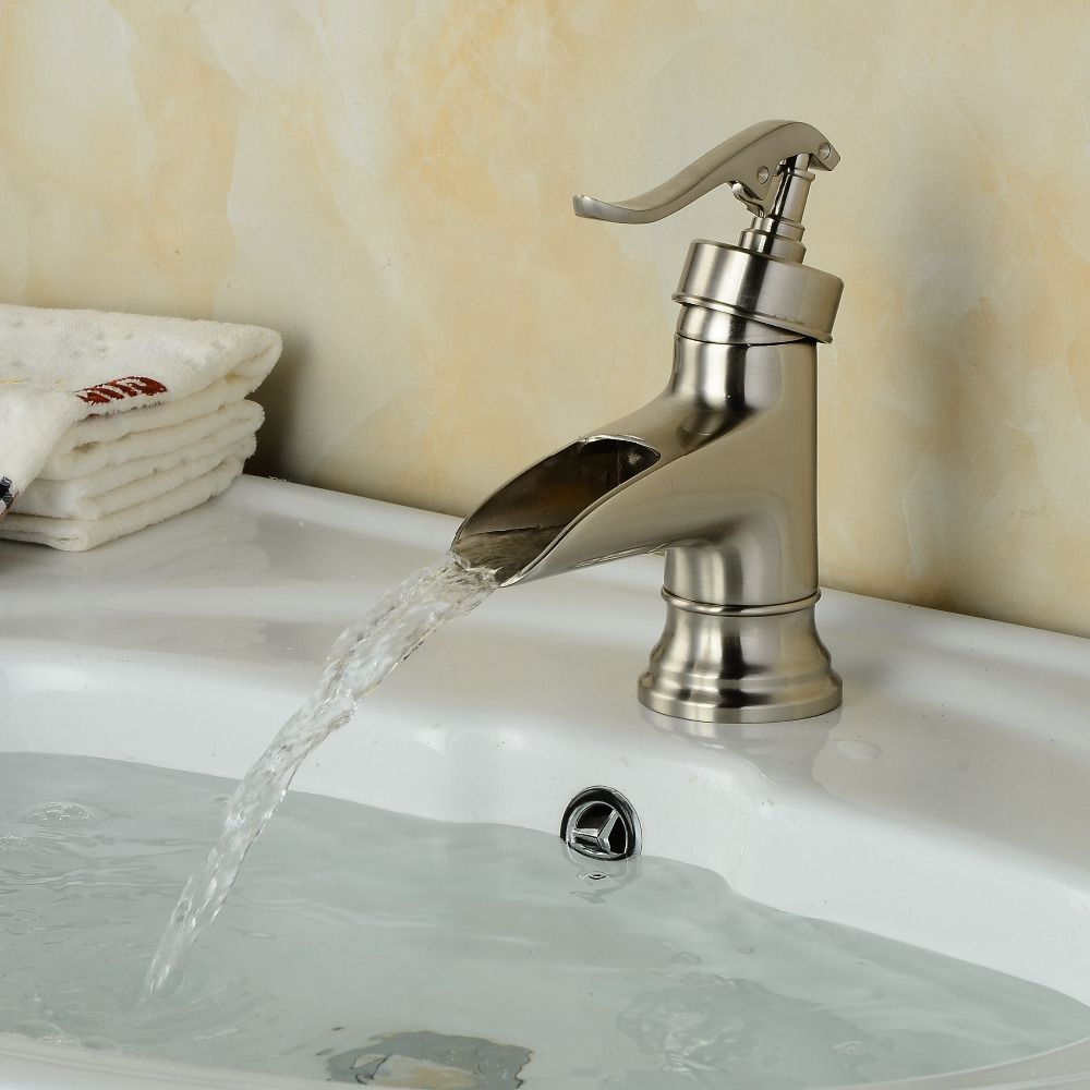 Wholesale And Retail Water Pump Waterfall Spout Bathroom Basin Faucet  Nickel Brushed Brass Vanity Vessel Sink