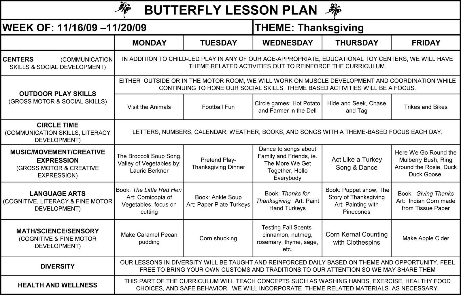 preschool weekly lesson plans