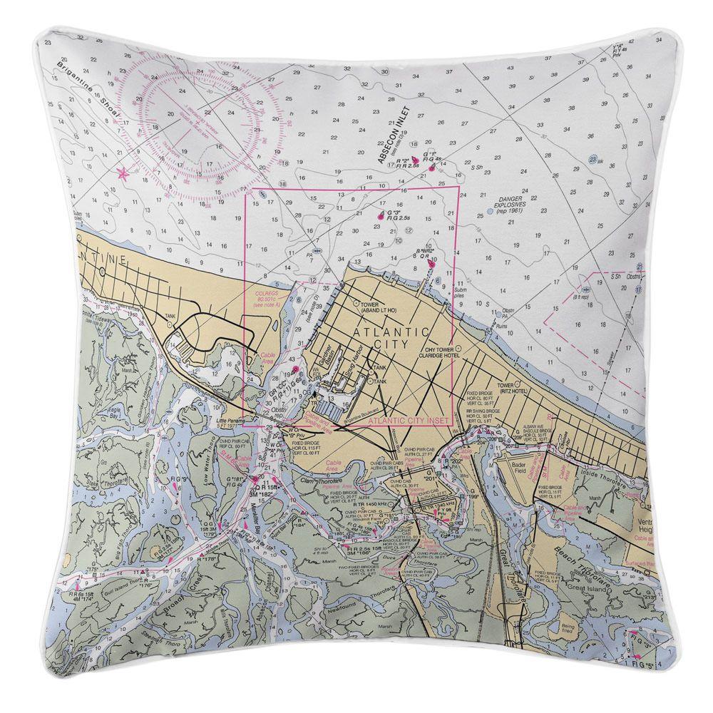 NJ Atlantic City, NJ Nautical Chart Pillow Pillows