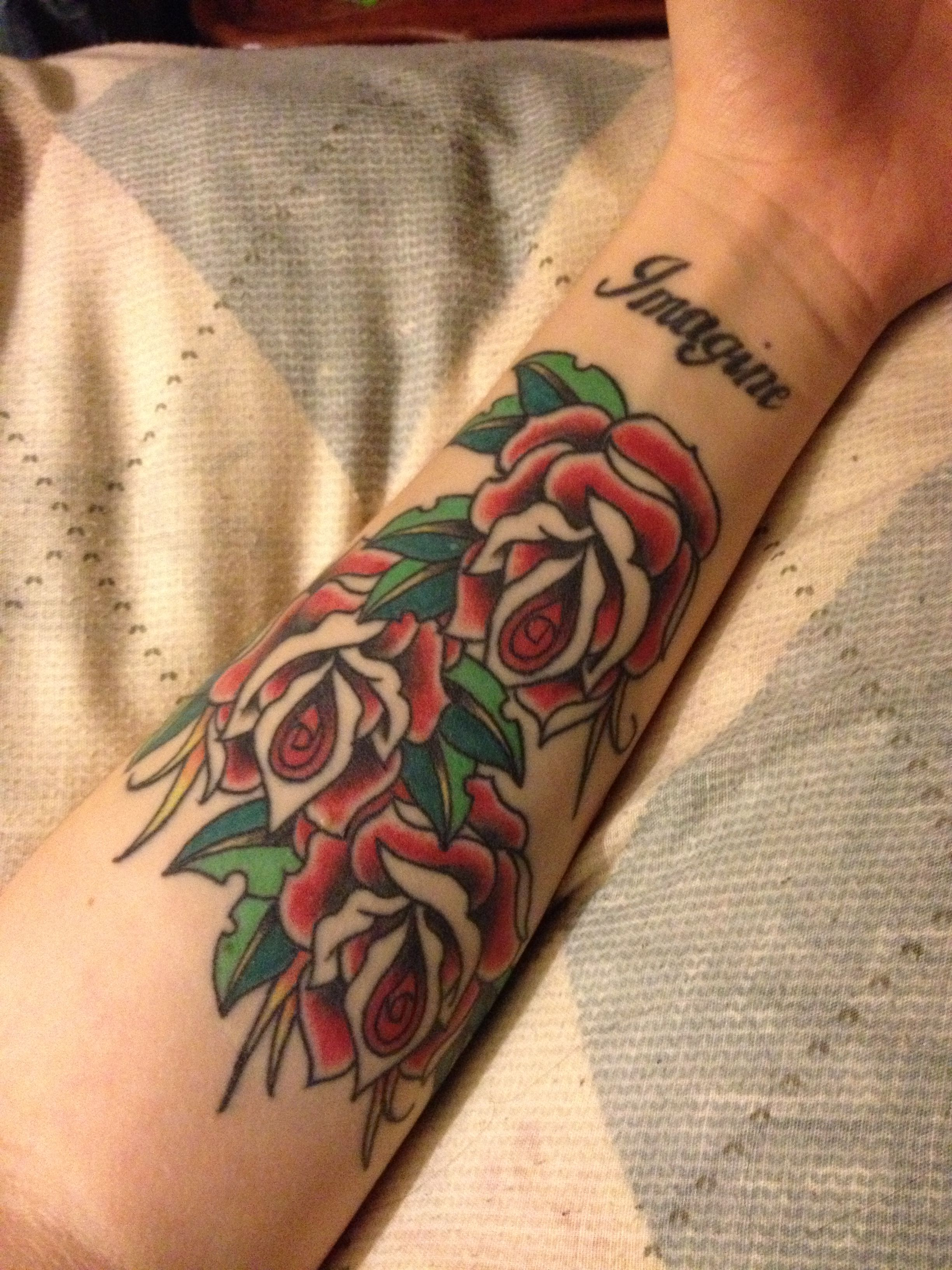 My Rose Tattoo On The Inside Of My Forearm And The Word Imagine
