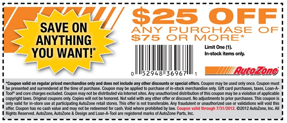 graphic regarding Northern Tool in Store Coupons Printable identify $25 off $75 at AutoZone all thirty day period coupon by way of The Discount codes Application