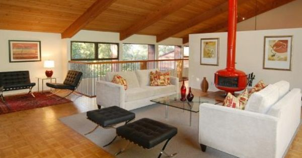 Midcentury Modern Freestanding Fireplace Living Room Google Search