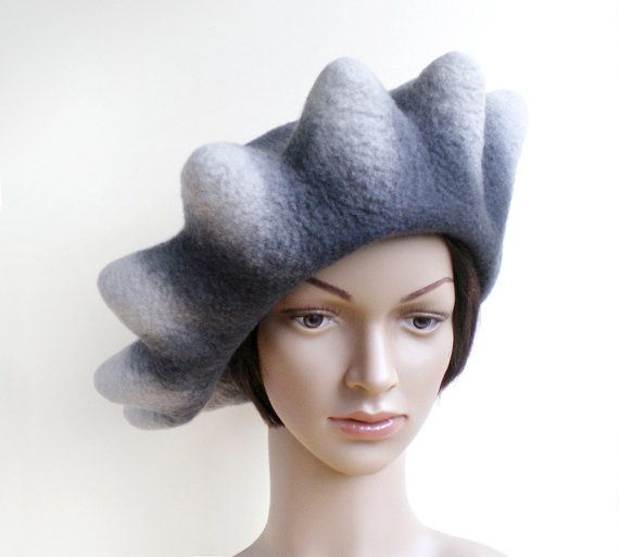 Womens Oversized Beret in Shades of Grey Original Big Size Hat Unusual  Bumpy Style Felted Beret Tren dfde7e062a