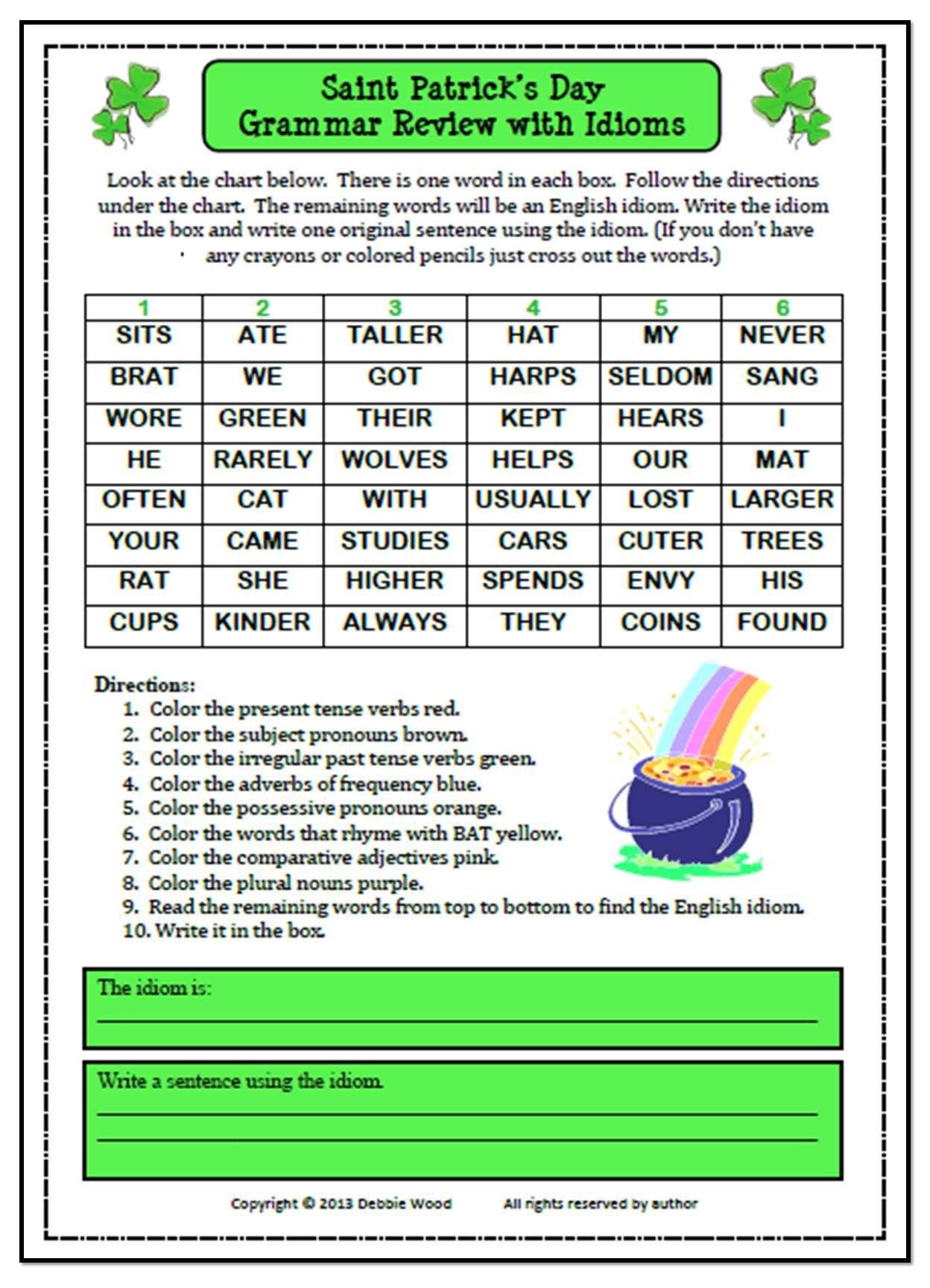 St Patrick S Day Grammar Review