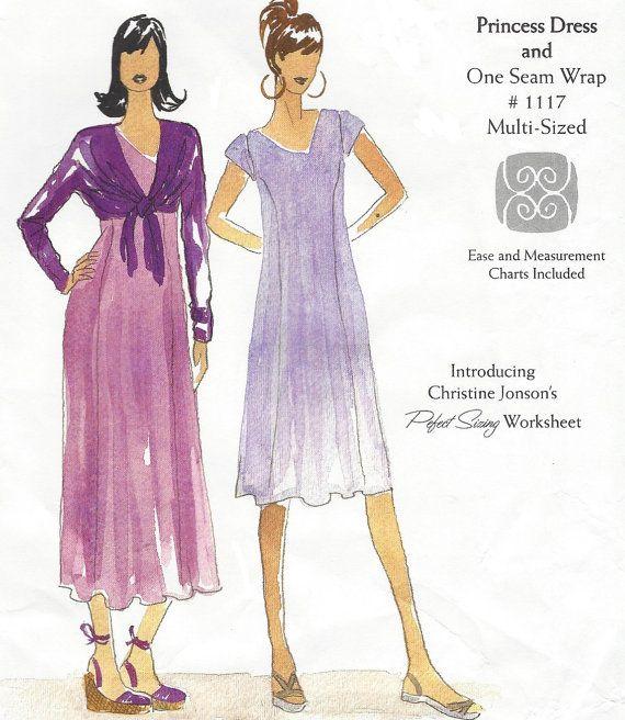 Womens Princess Seam Dress & One Seam Wrap by CloesCloset on Etsy