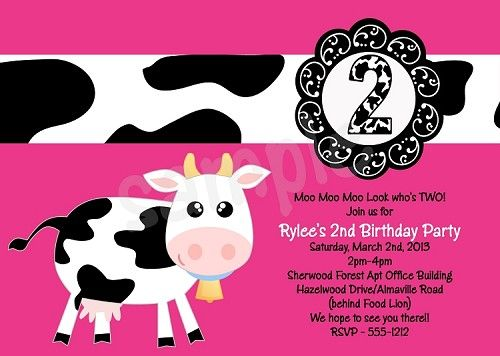 Cow Birthday Invitations Printable Or Printed ANY AGE AVAILABLE