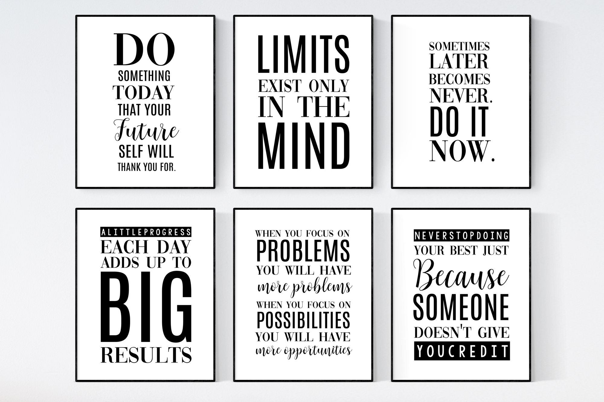 Quotes Prints Set Positive Quotes Wall Art Famous Quotes Etsy Typographic Quote Quote Prints Inspirational Quotes Wall Art