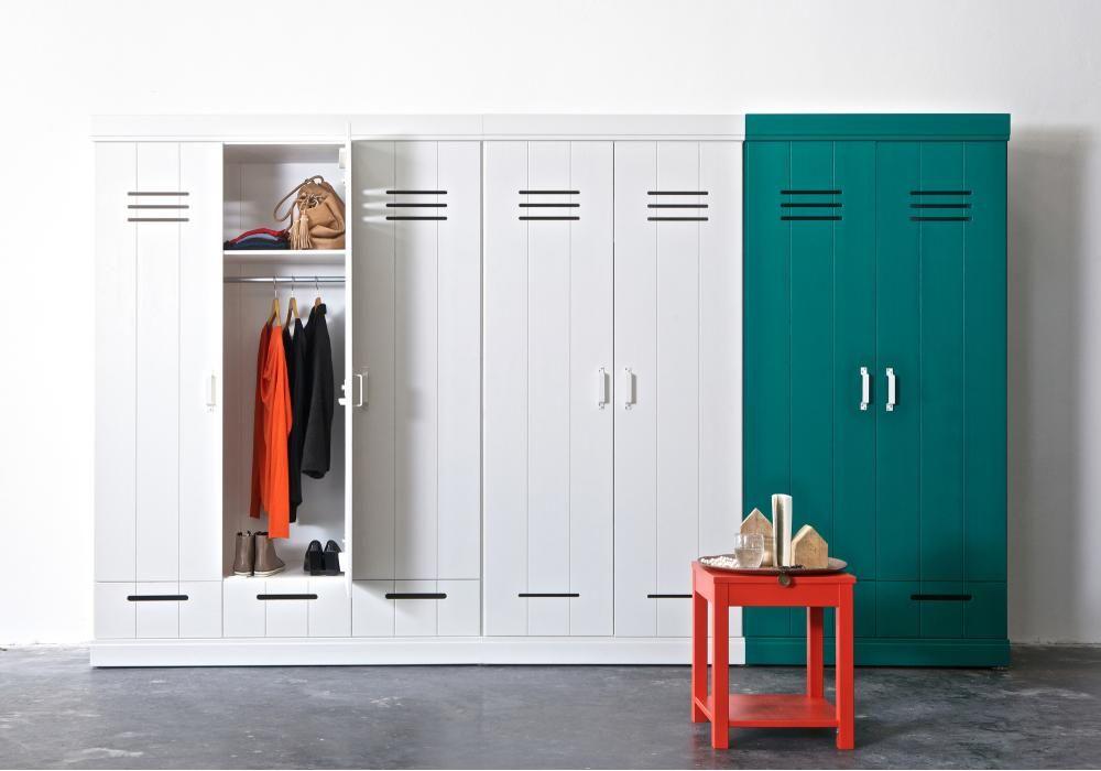 Locker kledingkast : Woood kledingkast connect deurs locker lades wit grenen