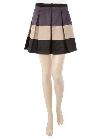 Grey, Beige & Black Color Block Pleated Skirt