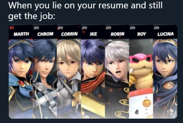 Roy Lies On His Resume Yes Super Smash Bros Memes Video Game Memes