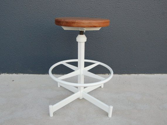 The White Star Vintage Industrial Turner Bar Stool Repurposed Authentic Mid Century Modern Frame Reclaimed Timber Seat Adjust Height Mid Century Bar Stools Bar Stools Reclaimed Timber