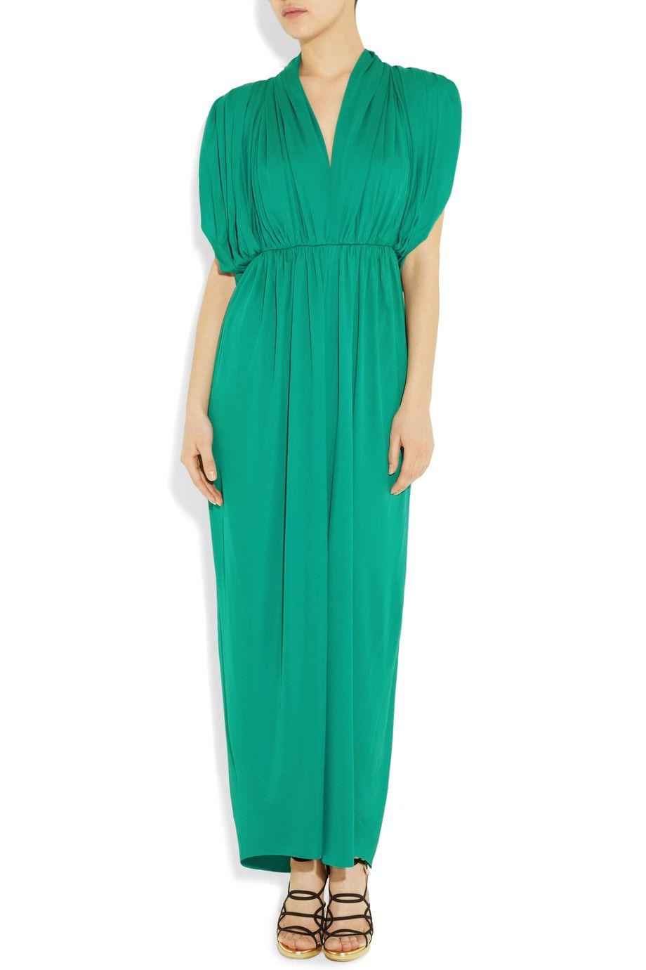 Lanvin Draped Crepe-jersey Maxi Dress in Green (sea) | Lyst