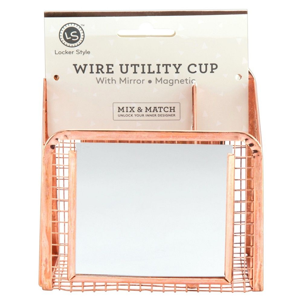 Locker Style Wire Cup With Mirror Rose Gold Products