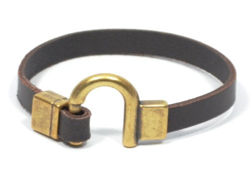 Brown horseshoe bracelet western jewelry bronze gifts for him
