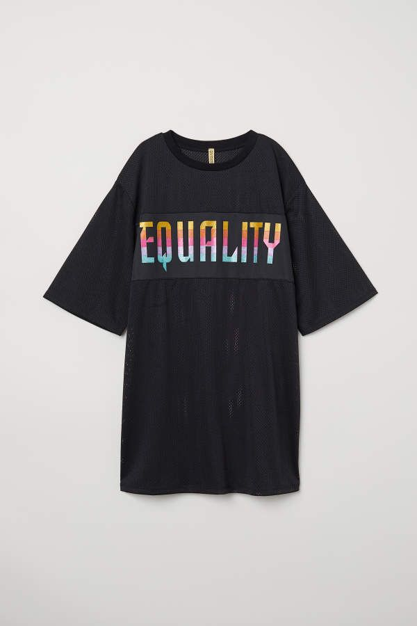 8b5cc1f913eeb H M H   M - Mesh T-shirt Dress - Black Equality - Women