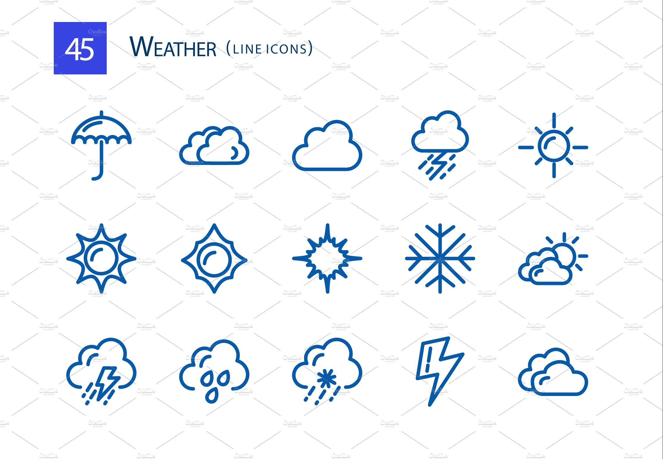45 Weather Line Icons Line icon, Icon, All icon