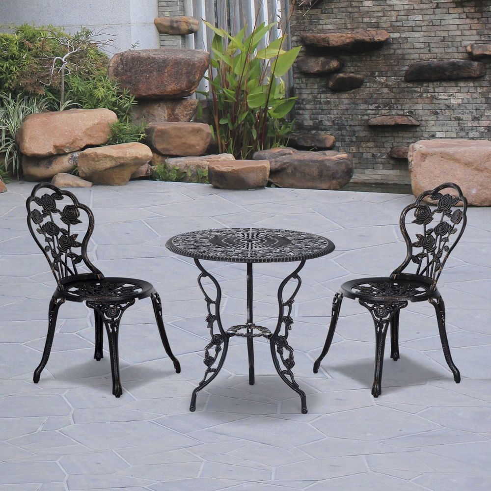 Wrought Iron Patio Set Bistro Dining Table & Chairs Outdoor Garden ...