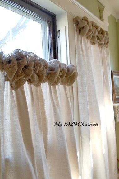 Tutorial Burlap Trimmed Drop Cloth curtains Craft Projects