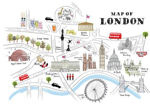 Cute Illustrated Map Of London London Map London Poster